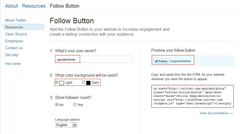 create twitter follow button
