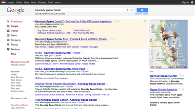 google result for Kennedy Space Center