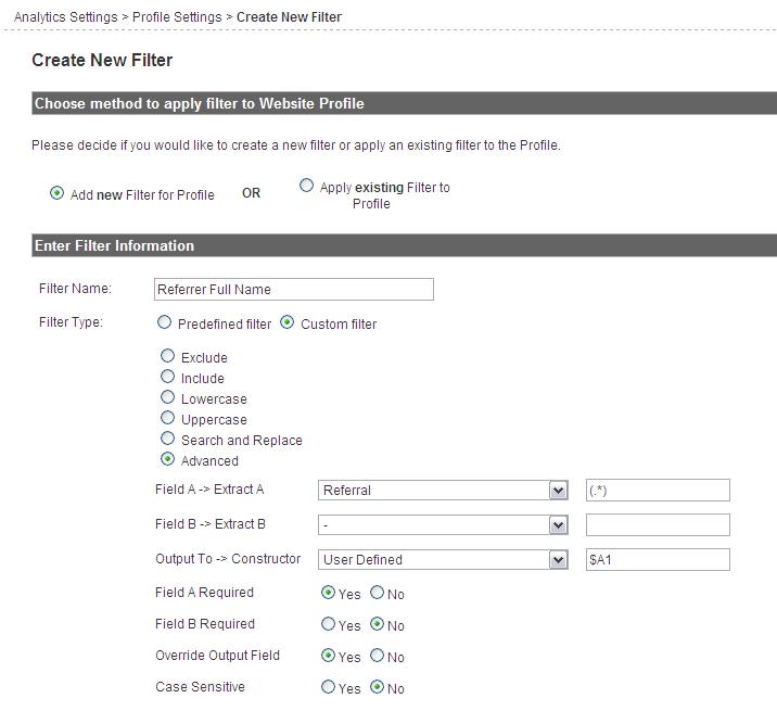 google analytics filter settings