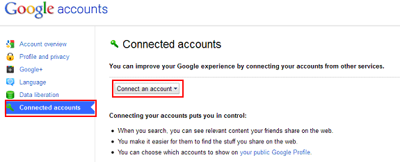 Google Plus connected accounts