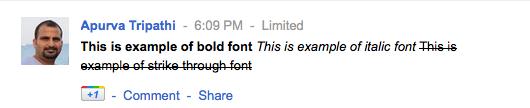 format fonts in google plus