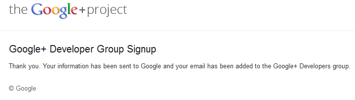 google plus developer account confirmation