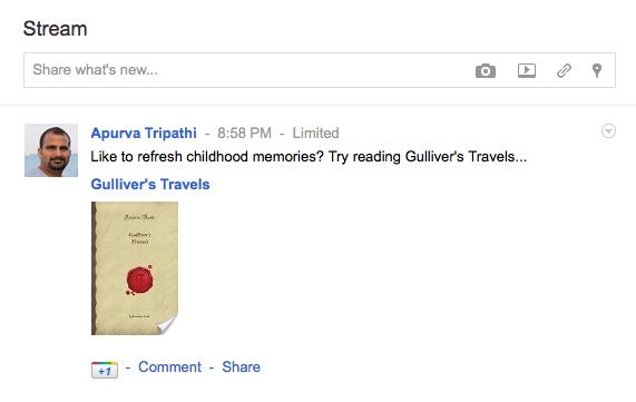 sharing google ebooks in google plus stream
