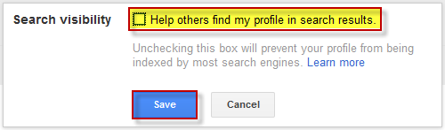 disable search visibility in google plus