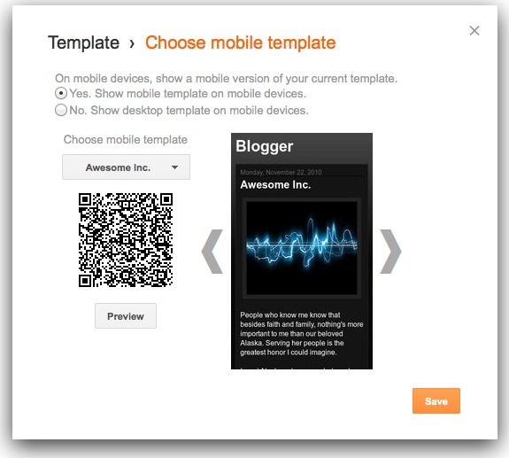 Mobile template for blogger