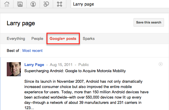 Search in google plus posts