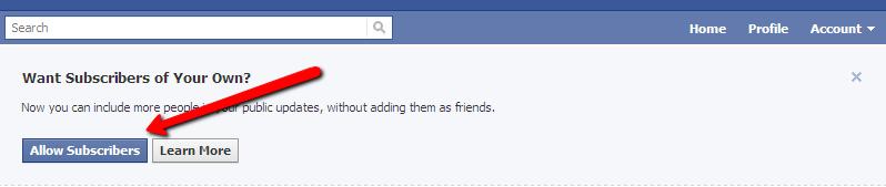 allow subscribers facebook