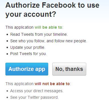 authorize facebook to twitter