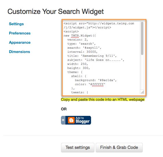 code for twitter widget