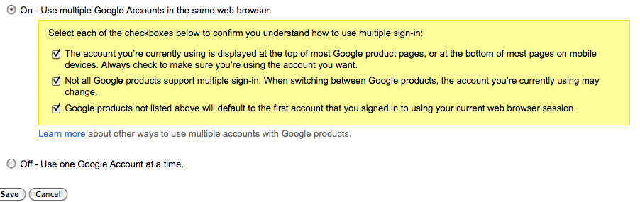 enable multiple sign-in google