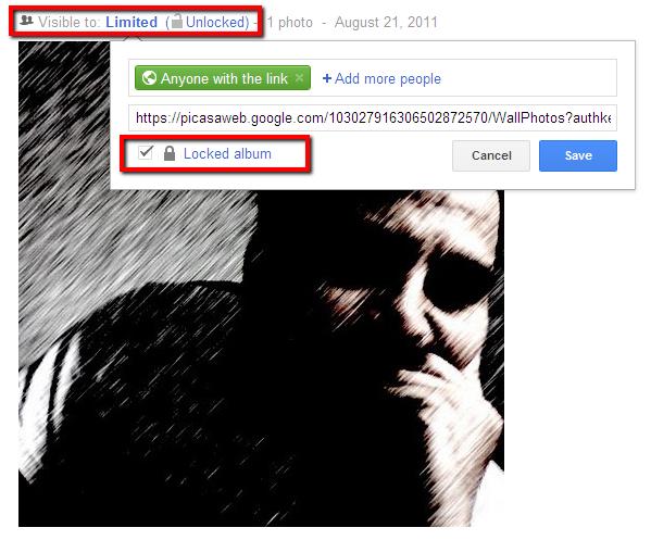 lock albums in google plus