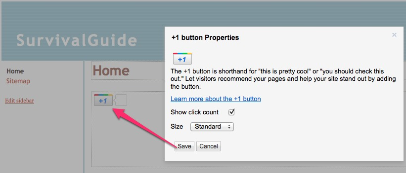 plus one button in sites