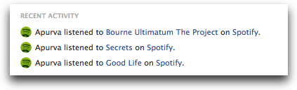 spotify recent activity in Facebook