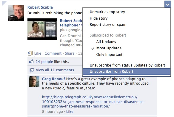 unsubscribe on facebook via post