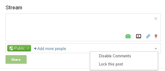 disable comments in google+