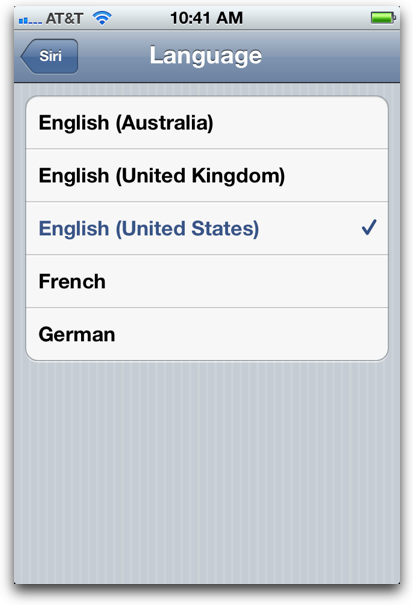 change siri language preference