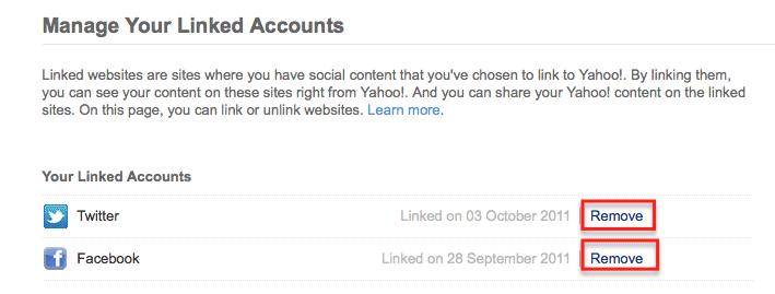 unlink Facebook & twitter