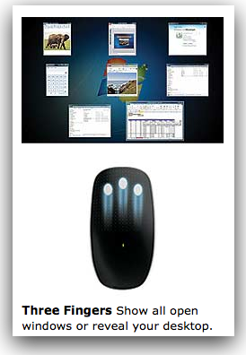 Microsoft Touch Mouse 3 finger gesture