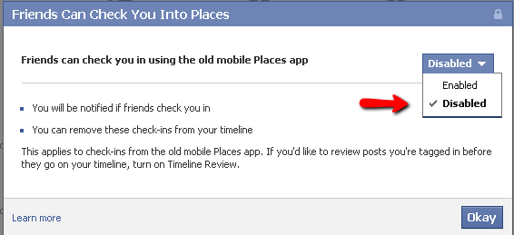 disable facebook_checkin