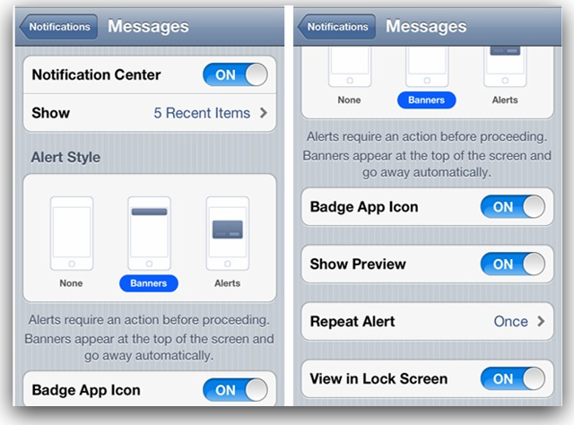 iOS 5 Notification Center Settings