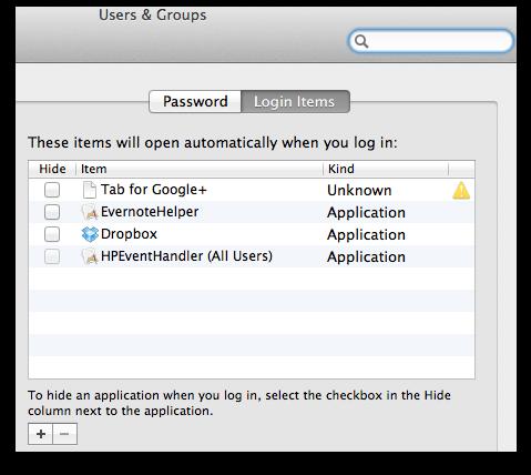 mac start up items