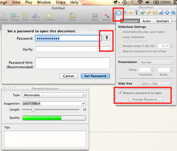 password protect a keynote document