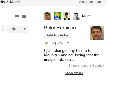 google+ posts in gmail