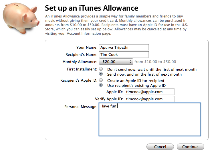 setup an itunes allowance