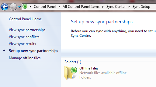 what is windows sync center
