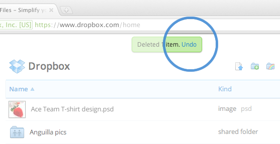 undo in dropbox