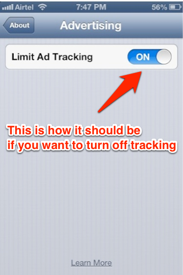 how to limit ad tracking in iOS 6
