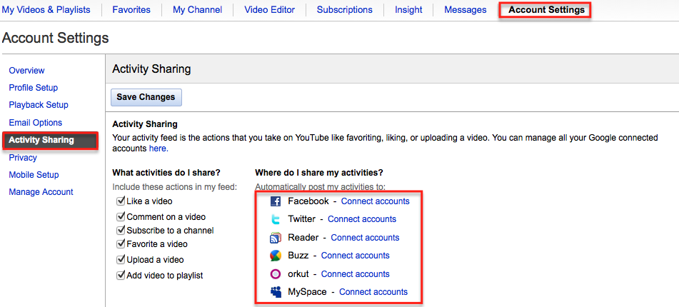 Connect Youtube with other accounts