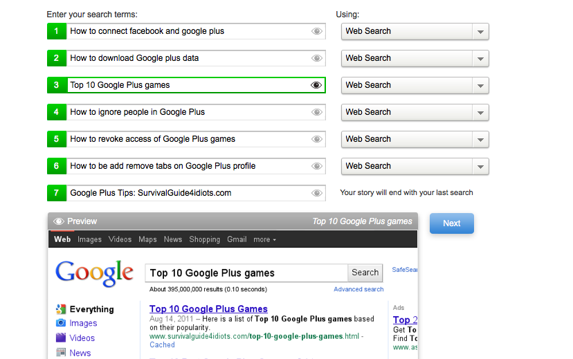 Creating Google Search Story
