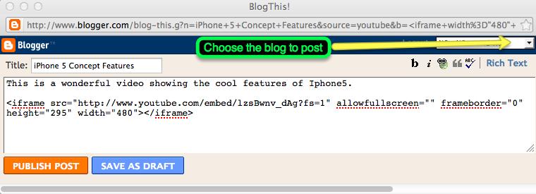 publishing on blogger
