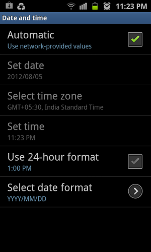 set time and date on android
