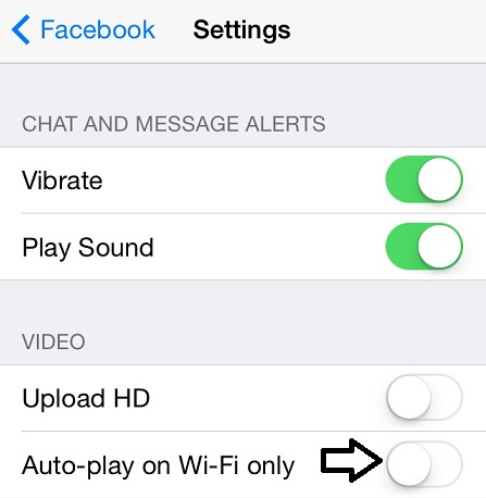 disable auto play of videos in facebook