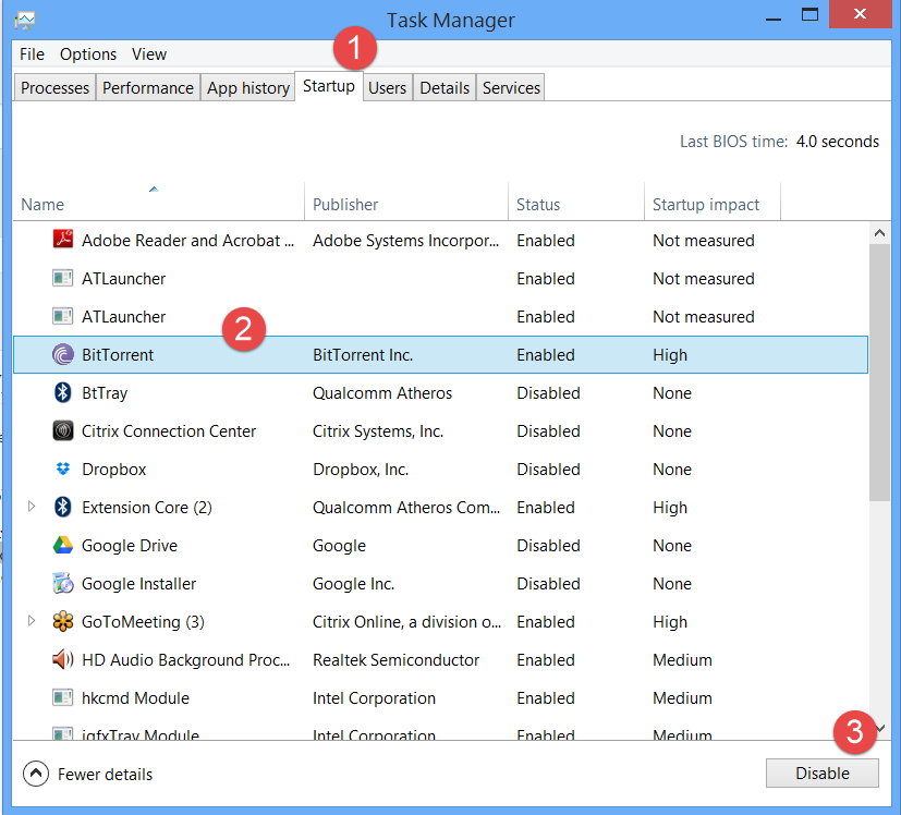 change startup programs in windows 8